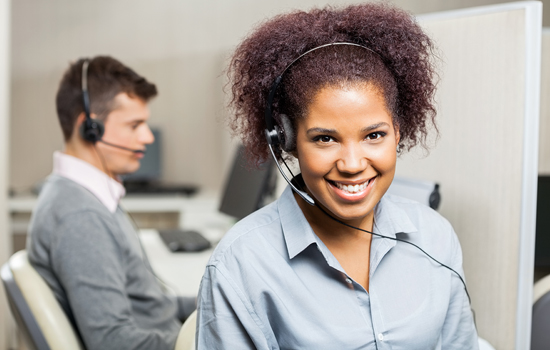 customer service member wearing headset